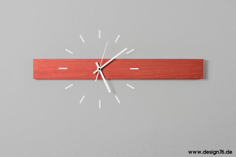 Design Wanduhr Buche rot lasiert - online kaufen