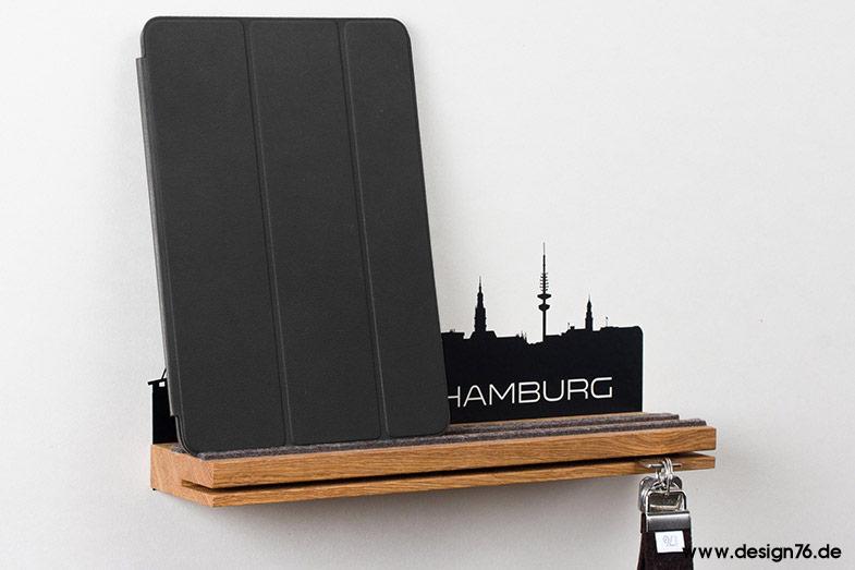 Schlüsselbrett Eiche schlüsselbrett eiche mit hamburg skyline - 24 deutsche städte wählbar -