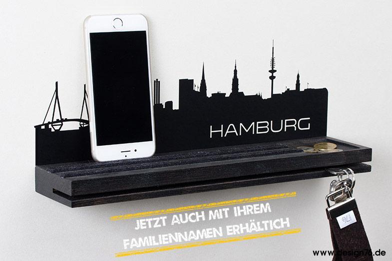 schl sselbrett schwarz mit vertiefung und hamburg skyline 24 deutsche skyline w hlbar. Black Bedroom Furniture Sets. Home Design Ideas