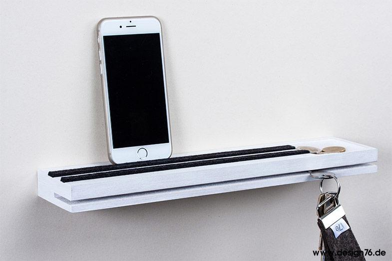 Schlüsselbrett mit Vertiefung - modern - mit Ablage - weiß