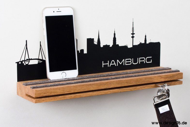 schl sselbrett eiche mit hamburg skyline 24 deutsche st dte w hlbar. Black Bedroom Furniture Sets. Home Design Ideas